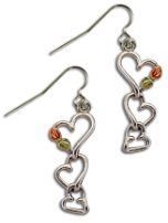 Sterling Silver Triple Heart Earrings with Black Hills Gold Leaves