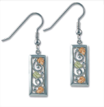 Black Hills Sterling Silver Rectangular Earrings with Leaves