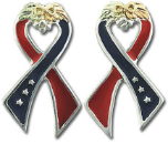 "Sterling Black Hills Silver ""I Support America"" Ribbon Earrings"