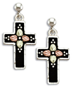 Black Hills Silver Black Enamel Cross Earrings with Leaves for Pierced Ears