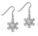 Sterling Silver Snowflake Earrings with Clear Cubic Zirconia