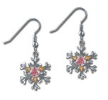 Sterling Silver Snowflake Earrings with Pink Cubic Zirconia