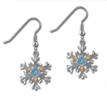 Sterling Silver Snowflake Earrings with Blue Cubic Zirconia