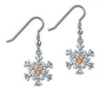 Sterling Silver Snowflake Earrings with Black Hills Gold Leaves