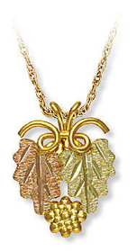 Black Hills Gold Pendant with Leaves and Grape Clusters