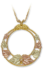 Black Hills Gold Circular Pendant with Leaves