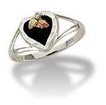 Sterling Silver Ladies Onyx Heart Ring