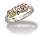 Sterling Silver Heart Ring with Diamond and Leaves