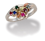 Black Hills Silver Mothers Ring with Birthstones