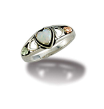 Sterling Silver Heart Ring with Opal Heart and Leaves