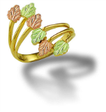 Ladies Black Hills Gold Ring with Pink & Green Leaves
