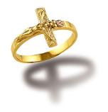 Ladies Black Hills Gold Crucifix Ring
