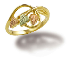 Black Hills Gold Ladies Ring with Leaves