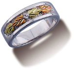 H3. Ladies White Gold Wedding Band with Black Hills Gold Leaves
