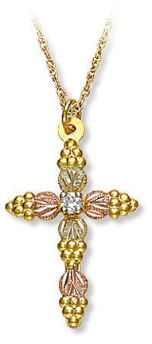 Black Hills Gold Cross Pendant with Diamond