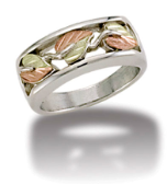 L2. Mens Sterling Silver Band with European Shank and Black Hills Gold Leaves