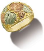 Men's Black Hills Gold Ring with Leaves