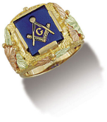 Men's Black Hills Gold Masonic Ring with Leaves