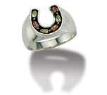 Mens Black Hills Silver Horseshoe Ring