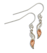Sterling Silver Earrings with Black Hills Gold Leaves