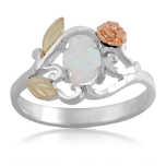 Sterling Silver Ladies Opal Ring with Gold Rose