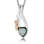 Black Hills Silver Heart Necklace with Opal Heart Pendant