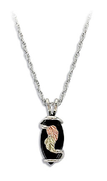 Sterling Silver Onyx Pendant with Gold Leaves