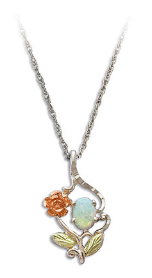 Sterling Black Hills Silver Opal Pendant with Gold Rose