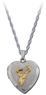 Sterling Silver Heart Locket with Black Hills Gold Deer and Leaves