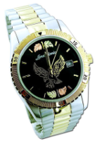 Mens Landstroms Watch with Black Hills Gold Eagle, Metal Band, BLACK Dial