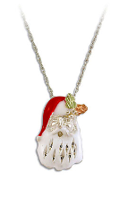 Sterling Silver Santa Claus Pendant with Black Hills Gold Leaves