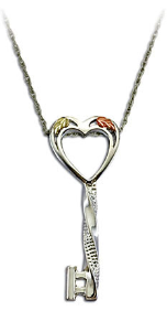 Black Hills Silver Key and Heart Pendant with Black Hills Gold Leaves