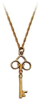 Black Hills Gold Skeleton Key Pendant with Leaves in Yellow or Rose Gold