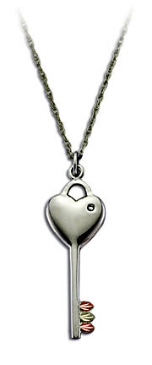 Black Hills Silver Key and Heart Pendant with Leaves and Diamond