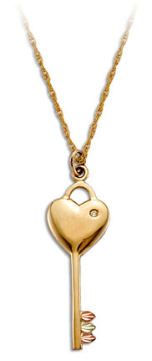 Black Hills Gold Key and Heart Pendant with Leaves and Diamond