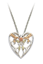 Sterling Silver Hummingbird Heart Pendant with Black Hills Gold Leaves