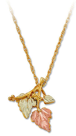 Y. Black Hills Gold VERMEIL Pendant with Black Hills Gold Leaves