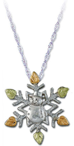 Sterling Silver Snowflake Pendant with Snowman and Black Hills Gold Leaves