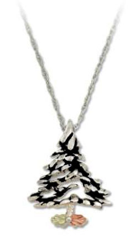 Sterling Silver Christmas Tree Pendant with Black Hills Gold Leaves