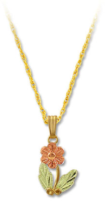 Black Hills Gold Prairie Rose Pendant with Leaves