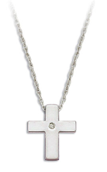 E. Sterling Silver Diamond Cross Pendant