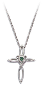 Sterling Silver Cross Pendant with Green Montana Sapphire