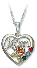 Sterling Silver Gold Mothers Heart Pendant with Birthstones