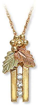Black Hills Gold Pendant with Leaves and Diamonds
