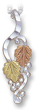 Sterling Silver Ladies Pendant with Black Hills Gold Leaves