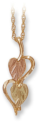 Black Hills Gold Split-Heart Pendant with Leaves