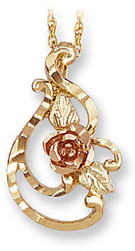 Black Hills Gold Pendant with Rose and Leaves