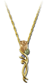 Black Hills Gold Rose Pendant with Diamond