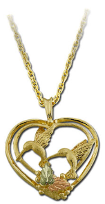 Black Hills Gold Heart Pendant with dual Hummingbirds