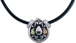 Sterling Silver Western Pendant with Black Hills Gold Leaves